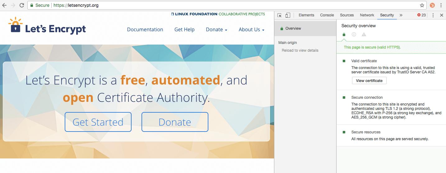 Developer tools met aanduiding van geldig SSL certificaat